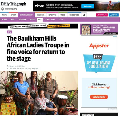 The Daily Tele Feb 2015 | Baulkham Hills African Ladies Troupe