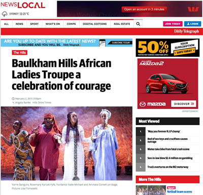 Daily Telegraph/ Hills Shire Times Feb 2015 | Baulkham Hills African Ladies Troupe